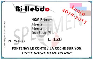 Carte Bi-Hebdo pour les élèves et étudiants interne - Transports Vendée