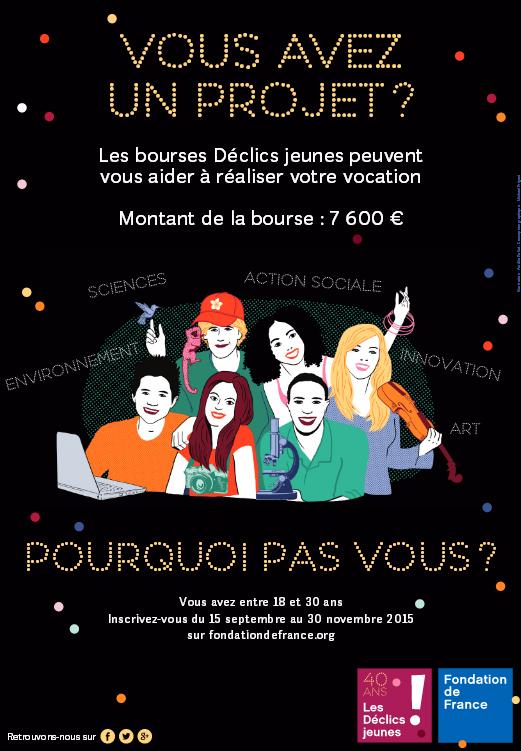 Bourses Déclics Jeunes de la Fondation de France - 2016