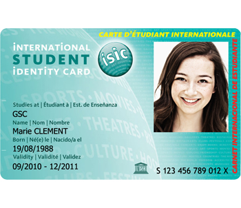 Carte ISIC - International Identity Student Card