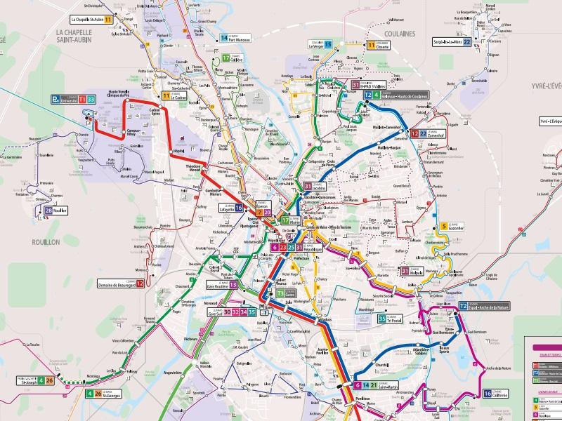 Prendre le bus, le tram au Mans