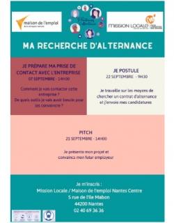 Ateliers Ma Recherche d'alternance_septembre 2021_Mission Locale Nantes Centre_Maison pour l'emploi Nantes métropole