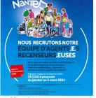 la ville de Nantes recrute des agents recenseurs